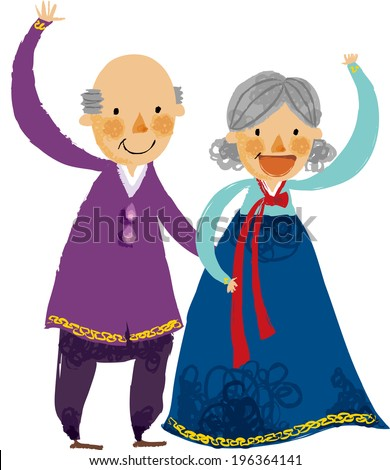 The view of old couple are waving a hand