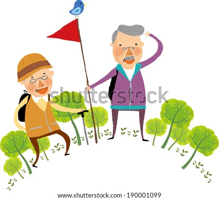 The view of old couple is hiking  - stock vector