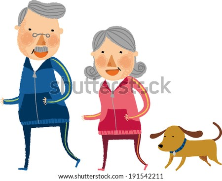 The view of old couple is running  - stock vector
