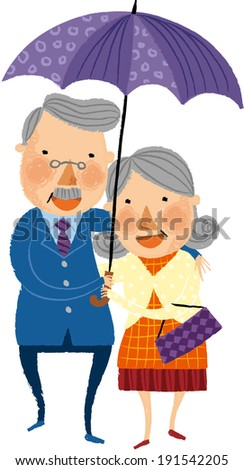 The view of old couple is standing with umbrella  - stock vector