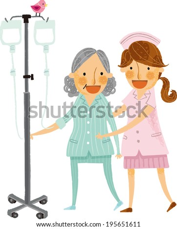 The view of patient and nurse  - stock vector