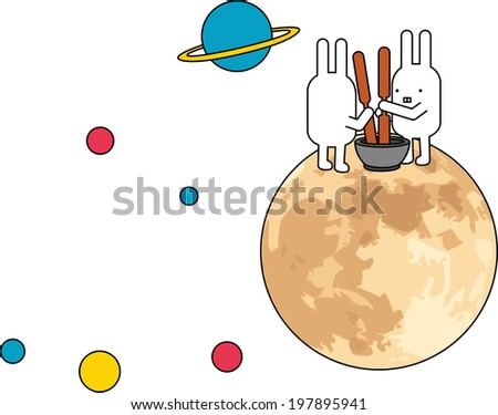 The view of rabbit on the moon  - stock vector