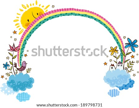 The view of rainbow with plants  - stock vector