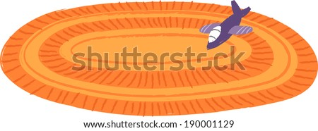 The view of toy on the rug  - stock vector
