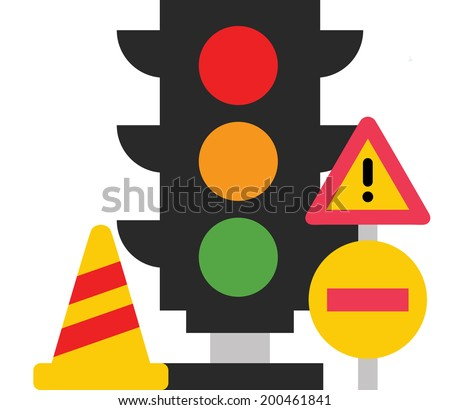The view of traffic lights with sign