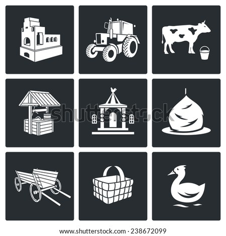 The village life Vector Icons Set