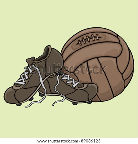 The vintage football boots and ball - stock vector