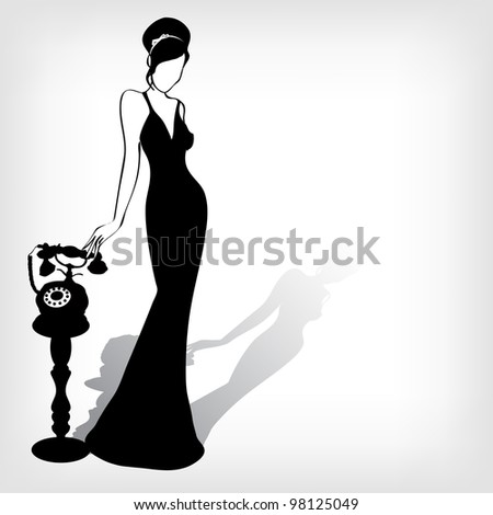 the vintage retro woman silhouette background -vector illustration - stock vector