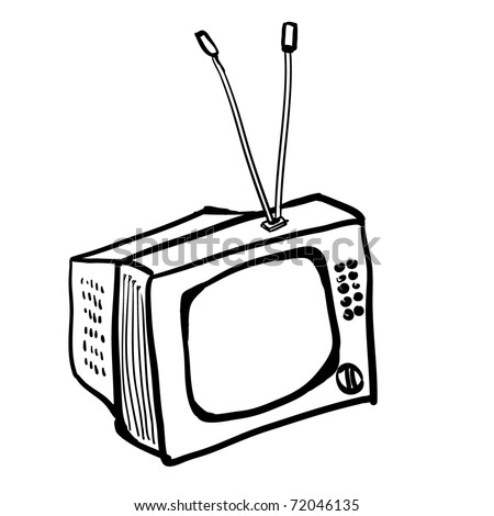 The vintage TV. A children's sketch of the square TV