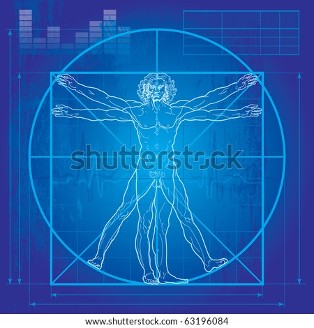 The Vitruvian man (Blueprint version). So-called Leonardo's man. Detailed vector drawing based on the artwork by Leonardo da Vinci c. 1490. - stock vector