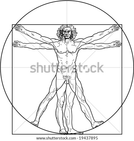 The Vitruvian man. Detailed drawing on the basis of artwork by Leonardo da Vinci (executed circa in 1490) by ancient manuscript of Roman master Marcus Vitruvius Pollio. - stock vector