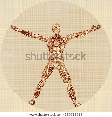 The Vitruvian Man. Remake of Leonardo da Vinci's drawing. Version 1.0 - stock vector