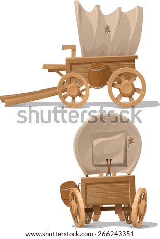 the wagon of wood in the Western style - stock vector