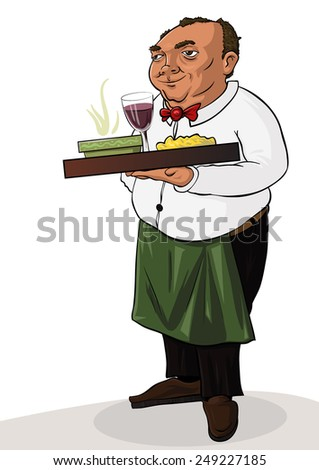 The waiter with tray of drinks and towel in hand, vector illustration - stock vector