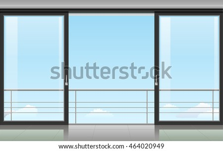 the wall at home or with a sliding door and overlooking the sky vector