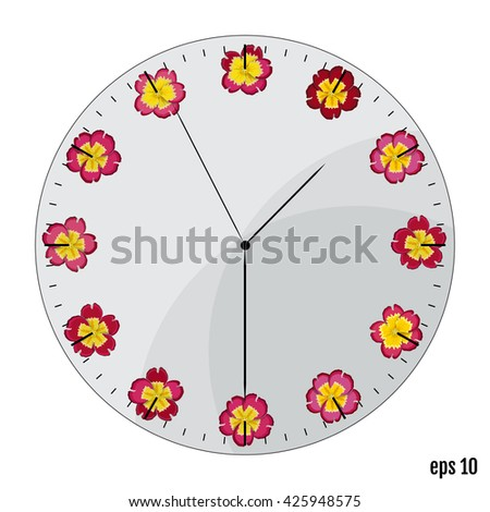 The watch dial with flowers. Summer concept. Flowers primrose on the dial - the original, sleek design. - stock vector