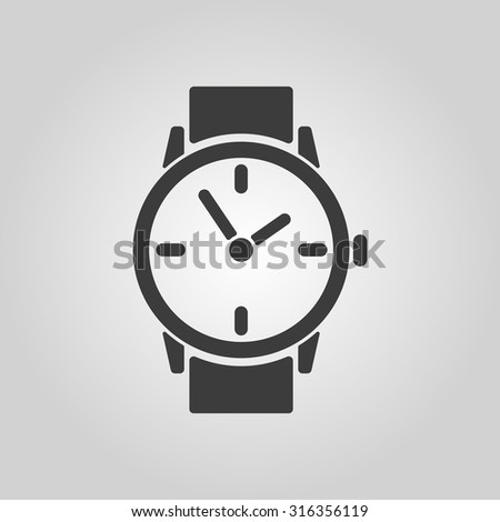 The watch icon. Clock and wristwatch, timer, time, stopwatch symbol. Flat Vector illustration - stock vector