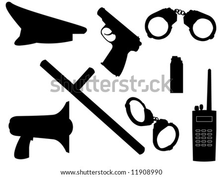The weapon and equipment of police in a vector - stock vector
