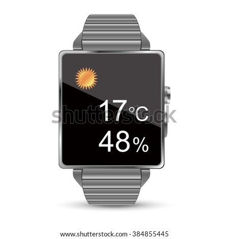 The weather forecast display of the Smart watch illustration on white background - stock vector