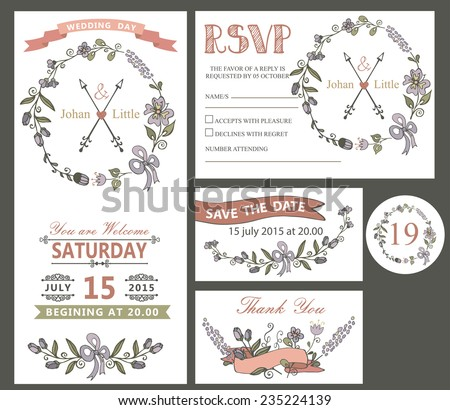 The wedding design template set with cartoon flowers wreath,ribbon,border in Retro style .For Wedding  invitation,thank you,save date,numbers,RSVP card.Vintage vector. - stock vector
