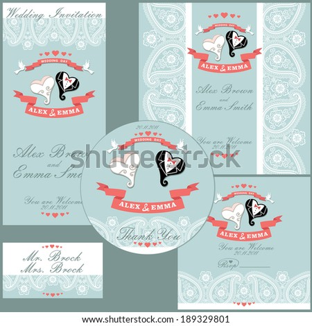 The wedding design template set with cartoon wedding hearts in Retro style  - stock vector