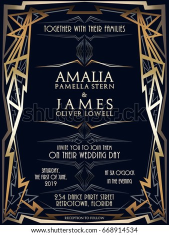 Wedding Invitation Design Art Deco Style Stock Vector 668914534 ...