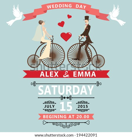 The wedding invitation with Cartoon bride groom on retro bike with vignettes,ribbon,pigeons.A design template.The vector. - stock vector