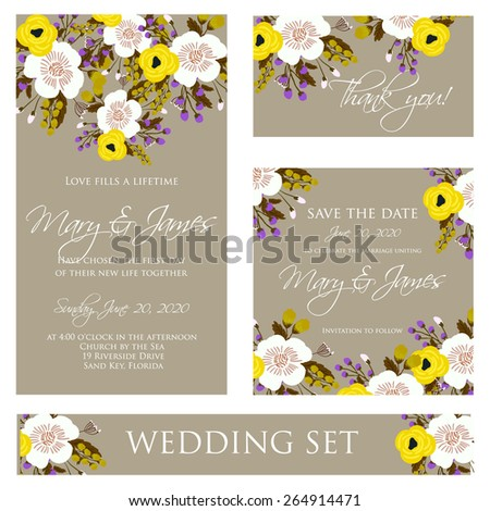 The wedding invitation with cartoon couple groom and bride in retro style with vignettes,ribbon,.A design template.The vector. - stock vector