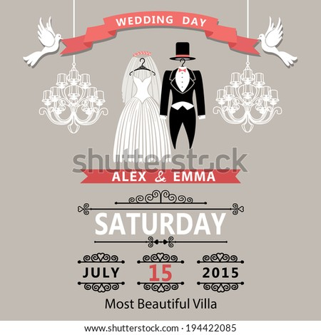 The wedding invitation with clothing groom and bride in retro style with vignettes,ribbon,pigeons,chandelier.A design template.The vector.