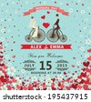 The wedding invitation with groom ,bride in Retro bicycle,vignettes,ribbon,pigeons,Flying hearts and spring flowers. Spring ,summer background, design template, save the date card. Vector illustration - stock