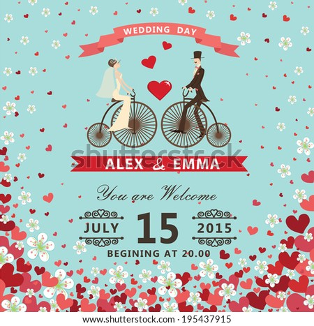 The wedding invitation with groom ,bride in Retro bicycle,vignettes,ribbon,pigeons,Flying hearts and spring flowers. Spring ,summer background, design template, save the date card. Vector illustration - stock vector