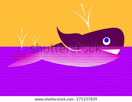 The whale in cartoon style - stock vector
