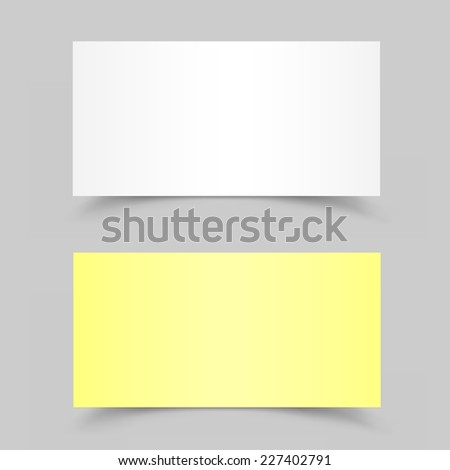 The white and yellow pieces of paper on the gray background - stock vector