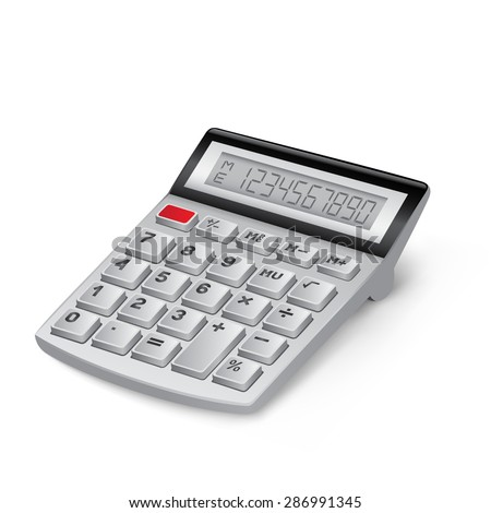 The white calculator on the white background - stock vector