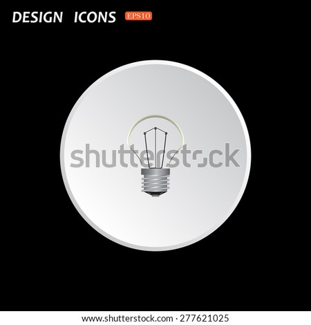 The white circle on a black background. lamp, incandescent bulb. icon. vector design - stock vector