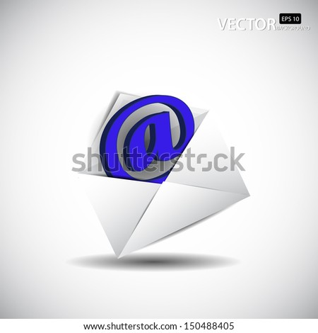 The white envelope with email icon - stock vector