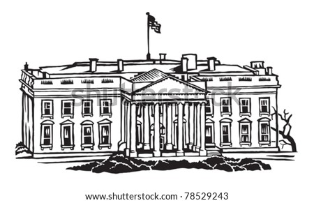 The White House official residence of the president of the United States - stock vector