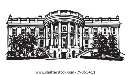 The White House South view - stock vector
