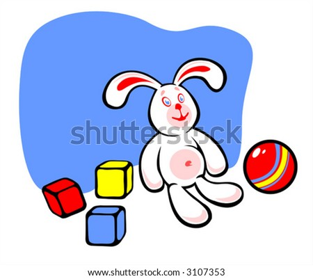 The white rabbit with three multi-colored cubes and a ball.