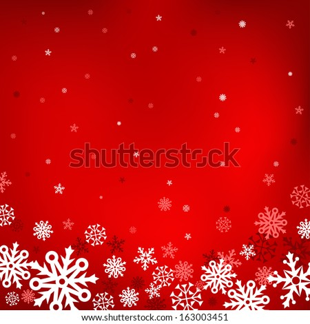 The white snow on the red mesh background, winter and Cristmas theme - stock vector