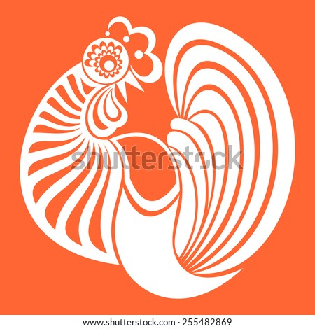 The white stylized cocks on a orange  background. Vector illustration for your design.  - stock vector