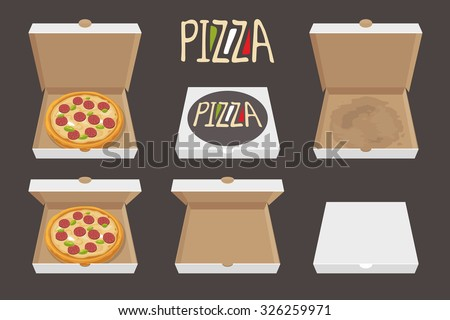 The whole pizza in the opened and closed cardboard box. Delivery. Set isolated vector Flat style illustration. - stock vector