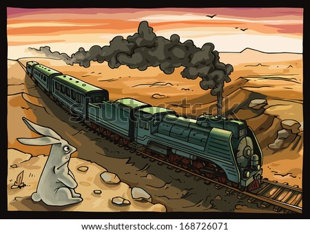 The wild rabbit is looking at the moving train with a steam locomotive in a desert. The rabbit is placed on a separate layer in the original vector EPS file v10. - stock vector