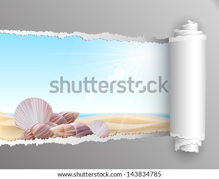 The window in the summer. Torn paper with opening showing summer background with seashell on the beach. Vector illustration - stock vector