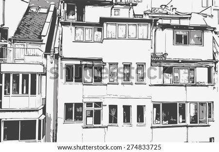 The windows of an apartment house - stock vector
