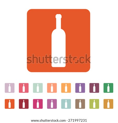 The wine bottle icon. Bottle symbol. Flat Vector illustration. Button Set