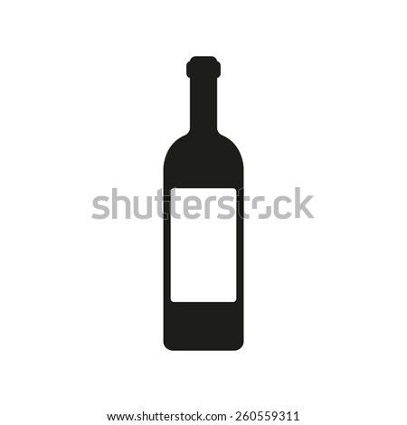 The wine icon. Bottle symbol. Flat Vector illustration - stock vector