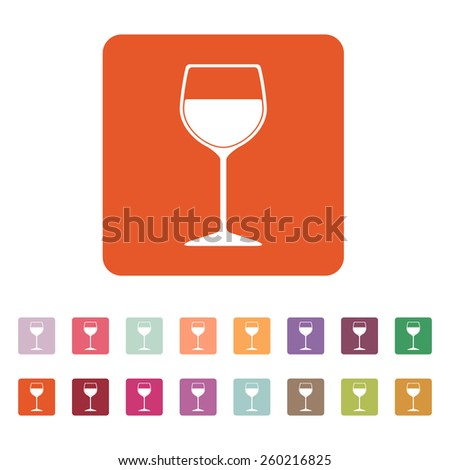 The wineglass icon. Goblet symbol. Flat Vector illustration. Button Set - stock vector