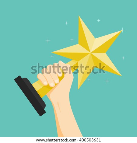 The winner, Hand holding winner's trophy award. Vector illustration. - stock vector