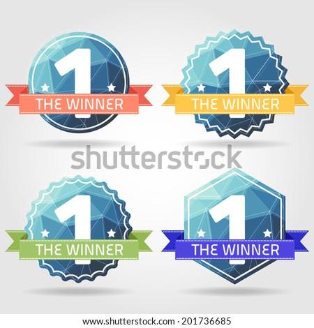 the winner prize label polygon vector - stock vector